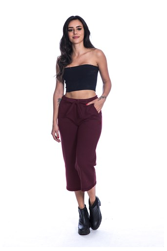 Calça Long Island Pantacourt de Moletom Bordo