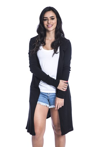 Cardigan Long Island Basic Preto